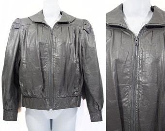 10 Dollar Sale---Vintage 80's SPLIT END LTD. Gray Leather Jacket Sz. 7/8