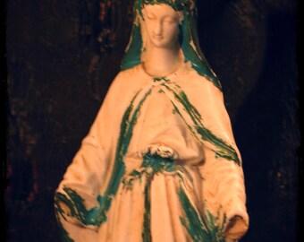 French Madonna, Virgin Mary, santos, saint, porcelain sculpture, religious sculpture