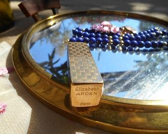 50s Elizabeth Arden Paris Lipstick Holder Etched Gold Plated Container #sophieladydeparis