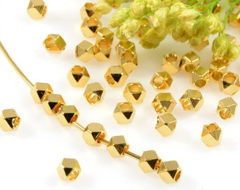 Diamond Cut Beads, 2.5mm, Gold Spacer Beads, Tarnish Resistant Beads, Lead Free, Brass Beads, Large Hole Beads, 1.3mm Hole