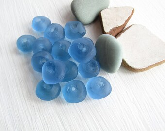 Blue Recycled glass beads, rough freeform rondelle donut disc ,  frosted matte style indonesian ( 16 beads )  7ak5-7