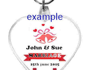 10 x wedding favors, gifts etc personalised, heart shaped keyring new design double sided  keyring, keyfob, made in wales uk