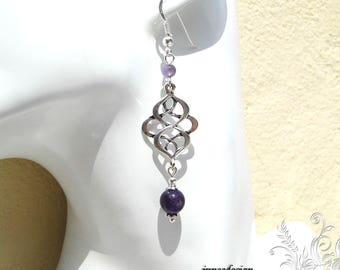 Double Amethyst earrings arabesque - sc - 925 Silver hook