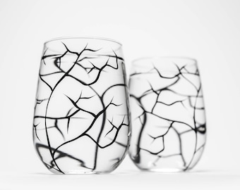 Bare Branches, Winter Tree Branch Stemless Wine Glasses - Set of 2 Hand Painted Glasses - Black Winter Trees, Fathers Day Gift, Gift for Him