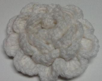 White crochet hair flower