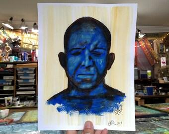 Blue Man Wall Art by artist Rafi Perez Original Painting On Paper 8X10 Expressions Study