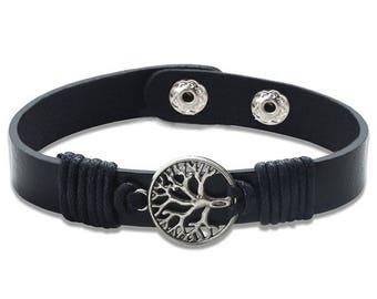 Black leather with tree of life bracelet