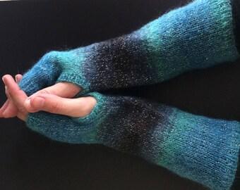 Fingerless Gloves - Arm Gloves - Women's Gloves - Mohair Gloves - Hand-Knit Gloves - Arm-Length Gloves - Blue and Black Gloves  - Striped