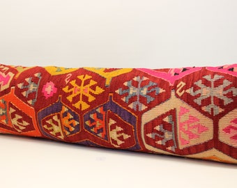 King size kilim pillow cover 14x48 inch (35x120 cm)Bedding lumbar Kilim pillow cover extra long pillow cover Home Desing Oblong pillow T-163