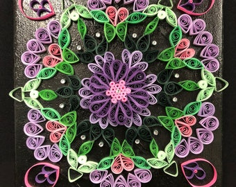 Quilled Mandala Canvas Decoration