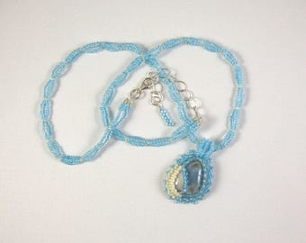 Blue and White Agate Opal Embroidered Pendant on Woven Bead Necklace
