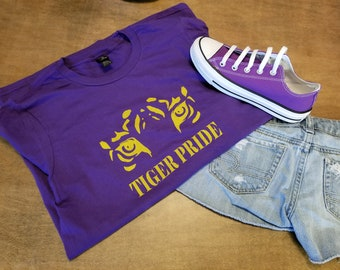 Tiger Pride T-Shirt, Purple and Gold, LSU. Show off you Tiger pride for the next sporting event.