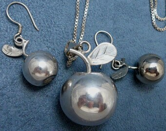 Silver Apple Chime Ball Set Necklace & Earrings Rattle Angel Ball