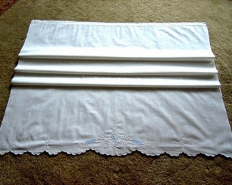 Pillow case Runner cover or Linen Crib SHEET hand embroidery MADEIRA vintage NEW embroidered applique