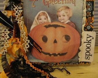 Jack Greetings Prim Vintage Halloween Sewn Paper Bag Album Junk Journal 6 x 6