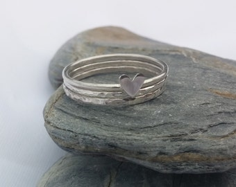 Sterling Silver Stacking Rings, Stacking Rings Set, Three Stacking Rings, Heart Ring, Textured Rings, SIlver Rings, Stackable Rings