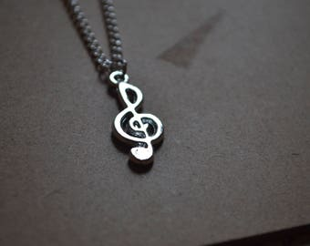 Treble Clef Necklace - Personalisation Available