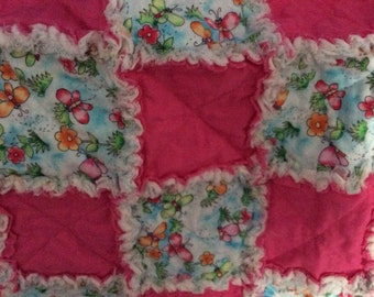 Pink Butterfly Rag Quilt