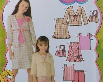 Lizzie Mcguire Girls Wardrobe Pattern Simplicity 4669 Girls top skirt pants jacket and bag pattern Girls Size 3-6 Disney Lizzie Mcquire