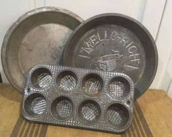 Vintage Bakeware/Mello-Rich Pie Tin/Ekco muffin tin