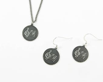Music Jewelry Set - Matching Necklace Pendant and Earrings With Treble Clef, Music Notes, Music Staff