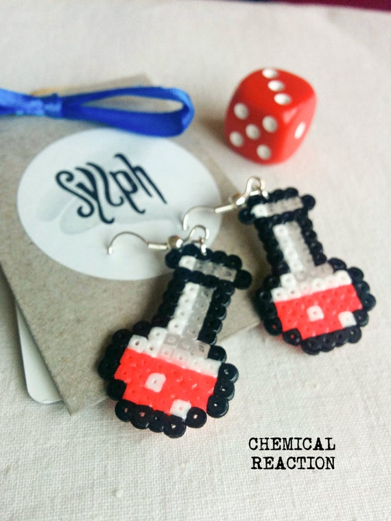Cerise colored bright pink pixelart Chemical Reaction potion earrings for a biologist, chemist or a labrat in retro style
