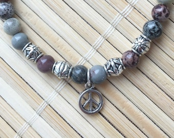 Peace Sign Wrist Mala Varigated Jasper Genuine Gemstone Meditation Calming Bracelet Jewelry
