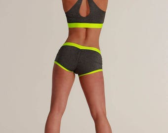 Women's Shorts - Basic / Gray w/various colors / Hot Yoga / Pole Dance / Twerk / Fitness / Dance / Booty / Sportswear / Activewear / Outfit
