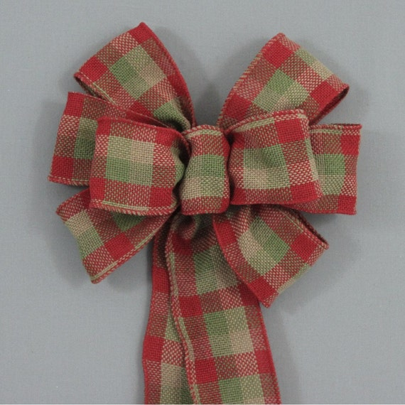 Burlap And Red Christmas Tree: Items Similar To Red Green Burlap Check Christmas Bow
