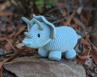 Triceratops Toy, crochet in glittery blue and sage