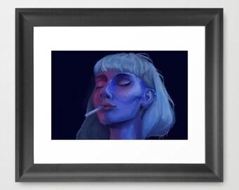 Cigarette, Art Print, Wall Art Print, Digital Art, Blue, Woman, 8x10, Digital Painting, Illustration
