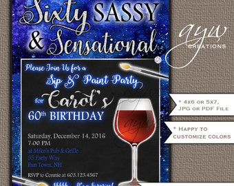 60th Birthday Party Invitation Paint and Sip Birthday Invitations Wine Party Invites Printable Invitation Paint Party Invite Elegant Blue