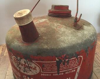 Vintage Galvanized Brookin's Gasoline Can