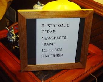 FREE SHIPPING 11 x 12 size Newspaper frame solid rustic cedar light oak finish deep cut