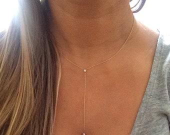 14k solid gold diamond lariat necklace princess cut diamond Y drop necklace