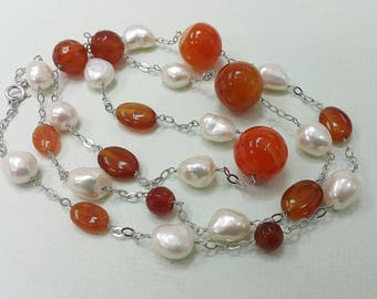 """Gorgeous Red Agate Station Long Necklace 10mm Freshwater Pearl Sterling Silver Wire-wrapped Big Stone Necklace 36"""" Luxury Necklace"""