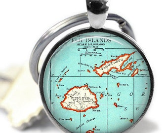 Fiji necklace pendant charm, Fiji Islands map jewelry, Fiji jewelry, Fiji map necklace, honeymoon keychain for men, men keychain, A213