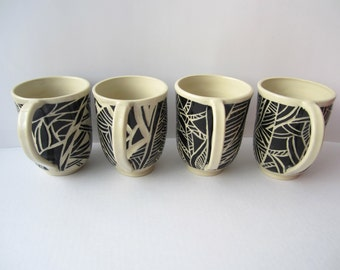 Made to order - set of four sgraffito mugs