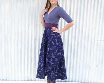 Maxi Wrap Dress with Bird Print - Long Midnight Blue Organic Cotton Dress - Handmade by Yana Dee