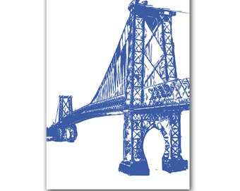 Williamsburg bridge with navy blue - Fine art print, navy blue , silhouette, bridge,new york, america