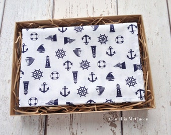 Men's pocket square, men's handkerchief, navy nautical on white pocket square