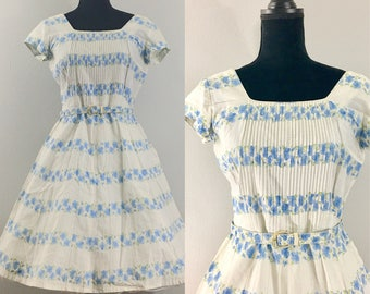 Garden Party Vintage Dress, Blue Morning Glory BETTY Hartford dress, 1950's Dress, Cotton Floral Dress, Rockabilly Dress, Day Dress, VLV dre