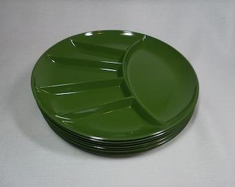 Vintage Green Plastic Fondue Plates, Divided Plates, Japan Mid Century Plastic Dishes