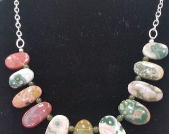 Necklace with Peach, Green, Mustard Yellow, White, & Burgundy Top Quality Ocean Jasper Drops, Jade Spacers, and Sterling Chain and Findings