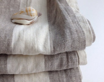 Set of four Linen tea towels, dish towels, kitchen towels, striped linen towels, linen kitchen towels with stripes