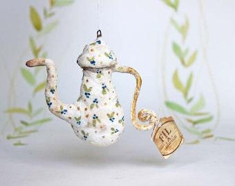 Miniature théière nostalgique Noël ornements figure ornement spun coton