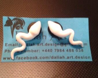 Sperm earrings  handmade fimo earrings -polymer clay