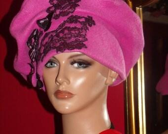 Beret  Pink Fleece Flapper Hat Antiqued style Personalized Headdress