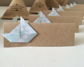 Place cards Origami boat for baptism or wedding
