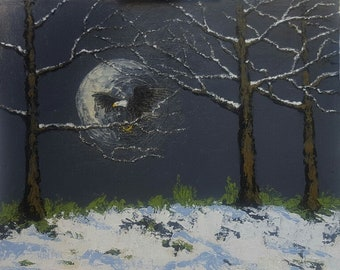 "American Eagle Moon Rise, acrylics, canvas panel, 8""x10"", original, signed"
